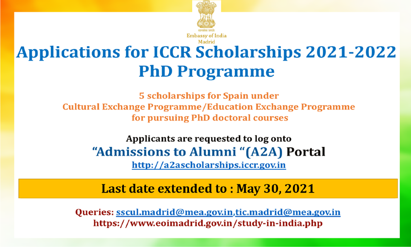 Applications for ICCR Scholarships 2021-2022 PhD Programme