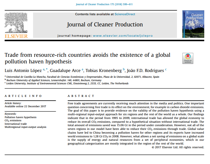 NEW PUBLICATION IN THE JOURNAL OF CLEANER PRODUCTION