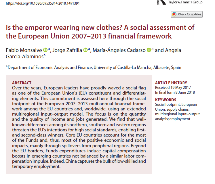 NEW PUBLICATION IN ECONOMIC SYSTEMS RESEARCH