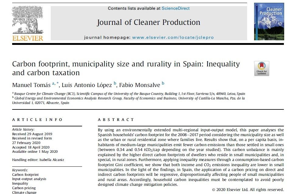 NEW PUBLICATION IN JOURNAL OF CLEANER PRODUCTION
