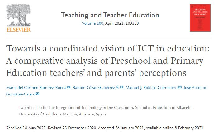 #NewPaper !! Towards a coordinated vision of ICT in education: A comparative analysis of Preschool and Primary Education teachers' and parents' perceptions