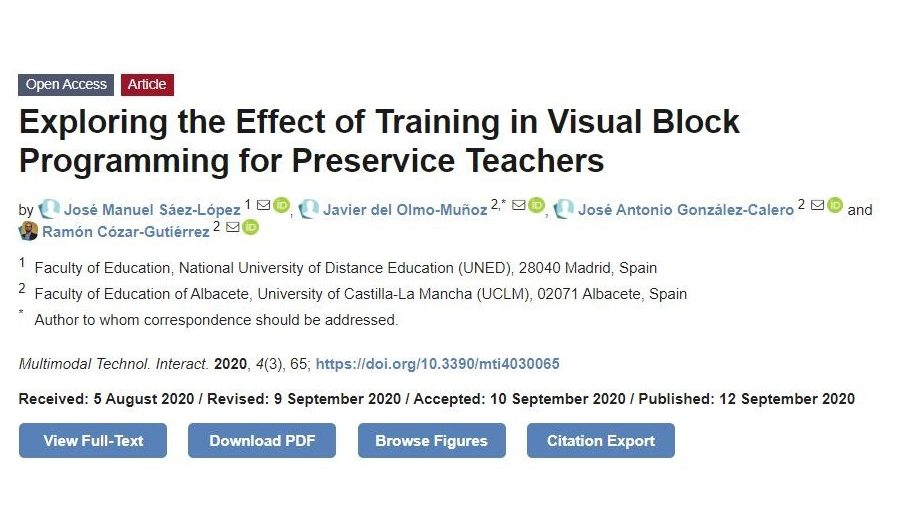 #NewPaper !! Exploring the Effect of Training in Visual Block Programming for Preservice Teachers.