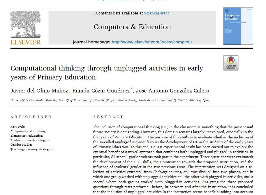 New paper: Computational thinking through unplugged activities in early years of Primary Education